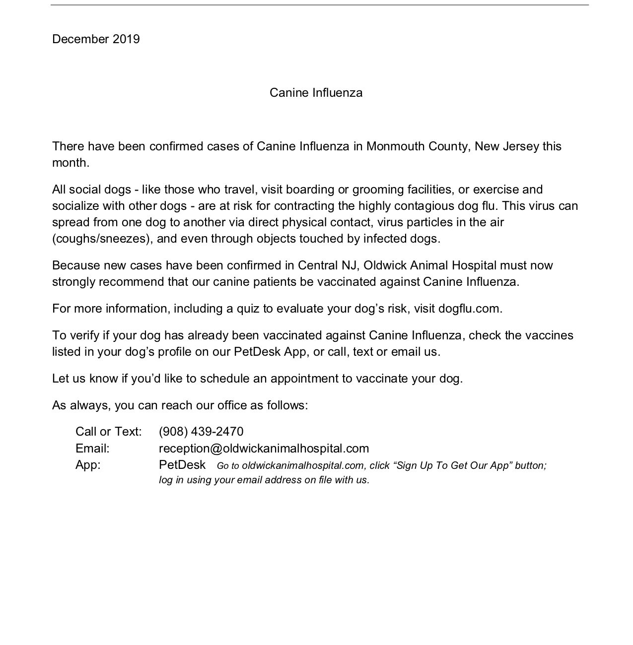 Canine Influenza Letter